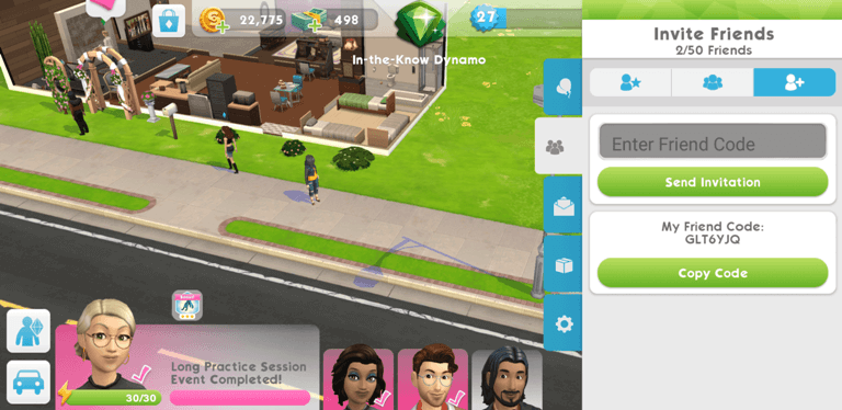 the sims mobile interface