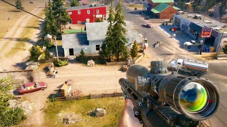 far cry 5 town sniper in game screen