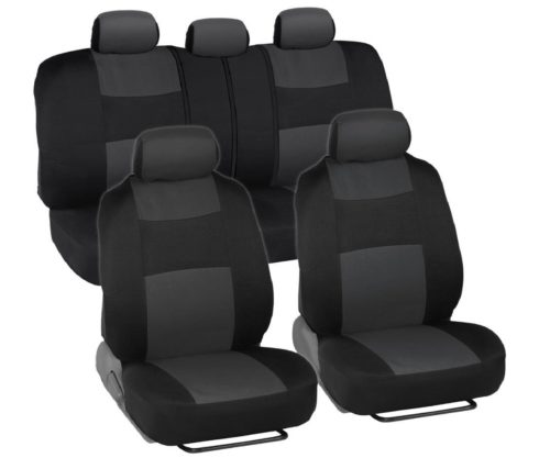 1.BDK-PolyCloth-Black-Charcoal-Gray-Car-Seat-Cover-Easy-Wrap-Two-Tone-Accent-for-Auto