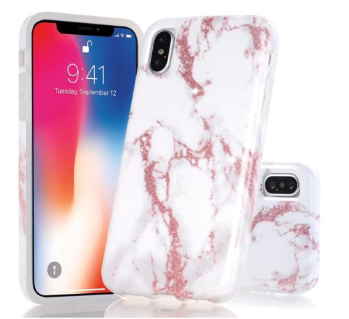 10. BAISRKE Shiny Rose Gold Glitter White Marble Design Clear Bumper Glossy TPU Soft Rubber Silicone Cover Phone Case