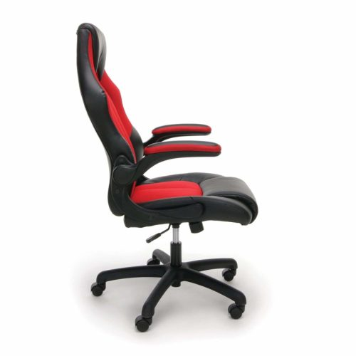 10. Essentials Racing Style Leather Gaming Chair - Ergonomic Swivel Computer, Office or Gaming Chair, Red (ESS-3086-RED)