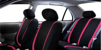10.FH-Group-FB032PINK114-Pink-Unique-Flat-Cloth-Car-Seat-Cover-w.-4-Detachable-Headrests-and-Solid-Bench
