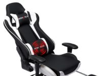 11. Nokaxus Gaming Chair Large Size High-back Ergonomic Racing Seat with Massager Lumbar Support and Retractible Footrest PU Leather
