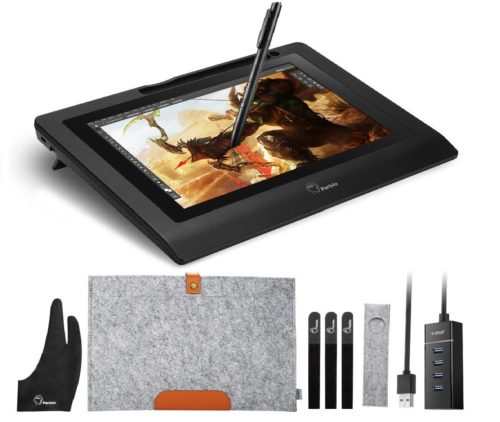 12.Parblo-10.1Coast10-Graphics-Drawing-Tablet-LCD-Monitor-with-Cordless-Battery-Free-Pen-Wool-Liner-Bag