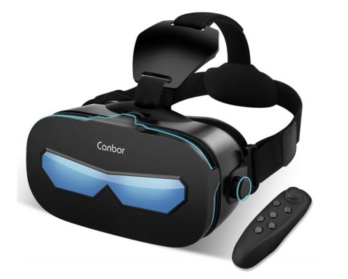 13. Canbor VR Headset with Remote Controller Virtual Reality Headset VR Goggles for 3D Movies and Games Compatible