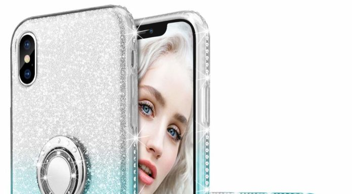13. Maxdara Case for iPhone X,Xs Glitter Case Ring Grip Holder [Gradient Kickstand Series] Bling Sparkle Diamond Rhinestone Bumper Luxury Pretty Girls Women Case