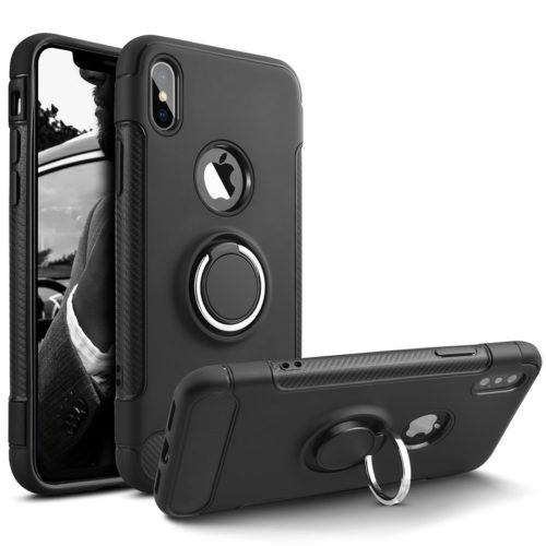 15. Besiva Phone Case Compatible iPhone Xs,iPhone X, Heavy Duty Protection Soft Cover Case with 360° Swivel Ring Kickstand Shock Absorption Durable Flexible