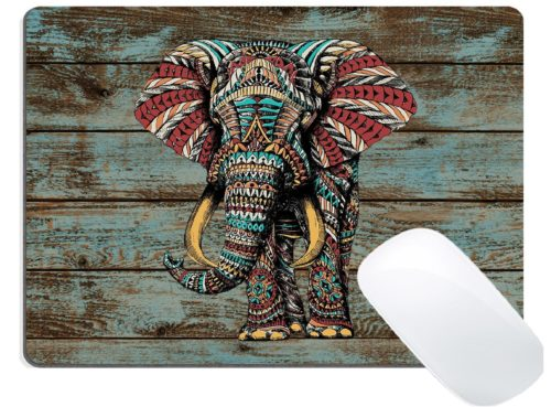 3.Wknoon-Gaming-Mouse-Pad-Custom-Design-Vintage-Colorful-Indian-Floral-Elephant-on-Rustic-Wood-Art