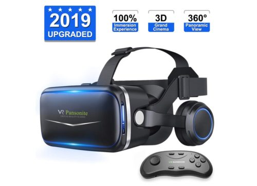 4. Upgraded & Lightweight Virtual Reality Headset with Stereo Headphone,Eye Protected HD Vr Headset with Remote Controller for 3D Movies and Games