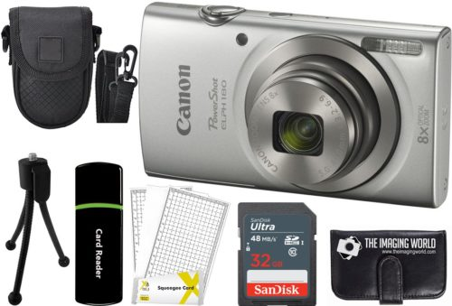 4.Canon-PowerShot-ELPH-180-20MP-8X-Zoom-Digital-Camera-Silver-32GB-Card-Reader-Case-Accessory-Bundle