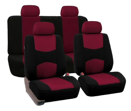 4.FH-Group-Stylish-Cloth-Full-Set-Car-Seat-Covers-BurgundyBlack-Color-Fit-Most-Car-Truck-Suv-or-Van
