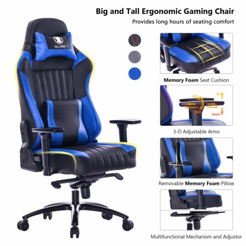 5. KILLABEE Big and Tall 400lb Memory Foam Gaming Chair - Adjustable Tilt, Back Angle and 3D Arms Ergonomic High