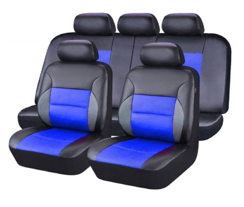5.CAR-PASS-11-Pieces-Leather-Universal-Car-Seat-Covers-Set-Black-and-Blue