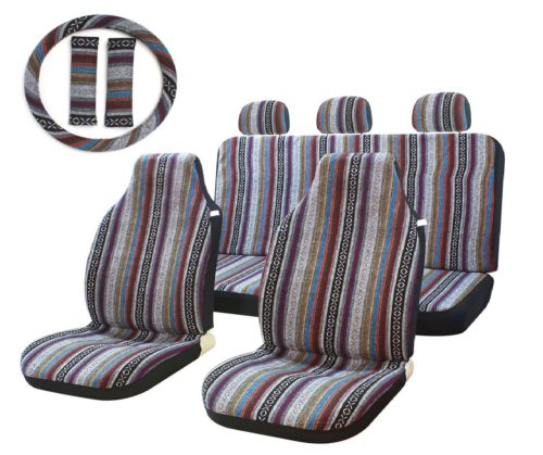 6.10pc-Stripe-Multi-Color-Seat-Cover-Baja-Saddle-Blanket-Weave-Universal-Bucket-Seat-Cover-Fit-for-Cars-Vans-with-Steering-Wheel-Cover.