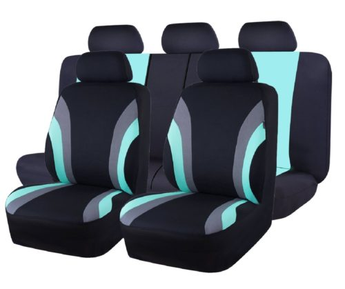 7.CAR-PASS-Line-Rider-11PCS-Universal-Fit-Car-Seat-Cover-100-Breathable-with-5mm-Composite-Sponge-InsideAirbag-Compatible-Black-and-Mint-Blue.