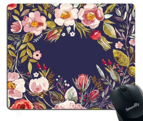 7.Smooffly-Gaming-Mouse-Pad-CustomMouse-Pad-Unique-Custom-Printed-Mousepad-Vintage-Hand-Drawn-Floral-Wreath-Stitched-Edge-Non-Slip-Rubber-9.5x7.9-Inch