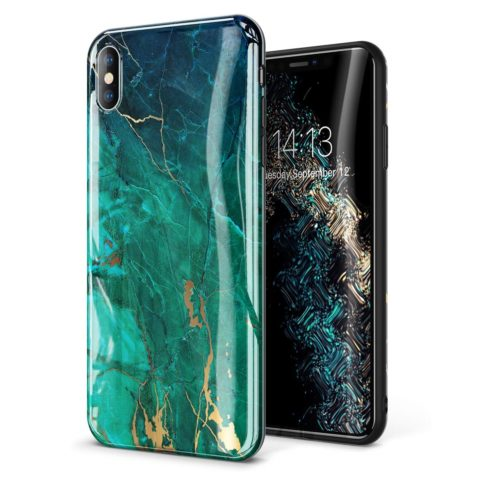 9. GVIEWIN Marble iPhone Xs Case,iPhone X Case, Ultra Slim Thin Glossy Soft TPU Rubber Gel Phone Case Cover