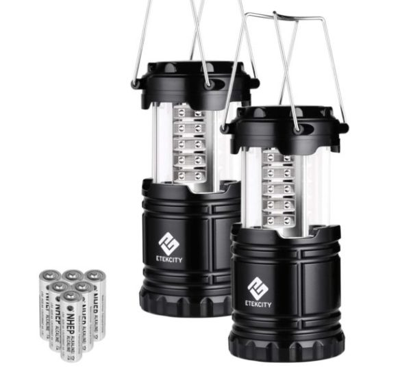 1. Etekcity 2 Pack Portable LED Camping Lantern Flashlights with 6 AA Batteries - Survival Kit for Emergency, Hurricane, Outage