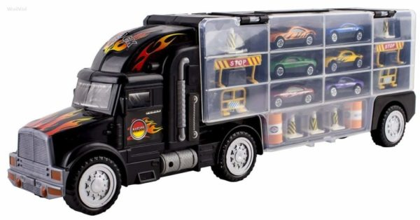 1. WolVol Transport Car Carrier Truck Toy for Boys and Girls (includes 6 cars and 28 slots)
