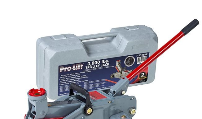 10. Pro-LifT F-2315PE Grey Hydraulic Trolley Jack Car Lift with Blow Molded Case-3000 LBS Capacity