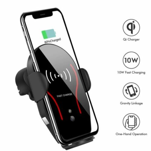 11. Wireless Car Charger, VIKASI 10W Qi Fast Charging Car Phone Holder, Air Vent Automatic Clamping Car Charger Mount Compatible
