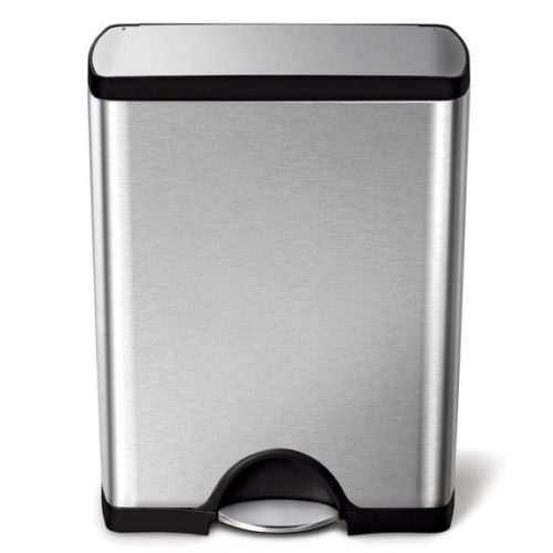 12. Gallon Stainless Steel Rectangular Kitchen Step Trash Can, Brushed Stainless Steel