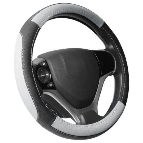 12. SEG Direct Black and Gray Microfiber Leather Steering Wheel Cover for Prius Civic