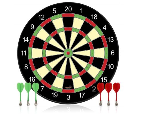 12.Funsparks-Magnetic-Dart-Board-Game-Full-Set-with-3-Green-and-3-Red-Darts-in-Cardboard-Box