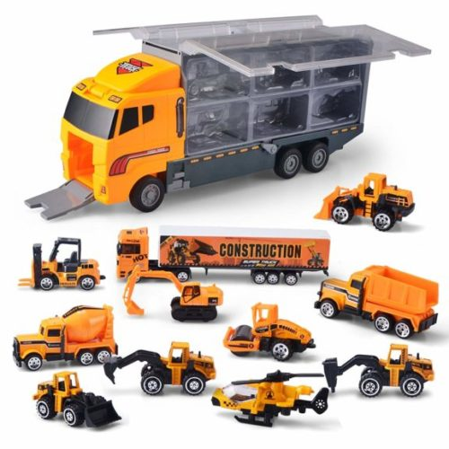 13. JOYIN 11 in 1 Die-cast Construction Truck Vehicle Car Toy Set Play Vehicles in Carrier Truck