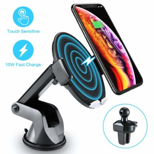 13. Wireless Car Charger with Touch Sensitive Clamp FLOVEME 10W Fast Wireless Car Charger Mount Phone Holder Qi Wireless Car Charger Compatible