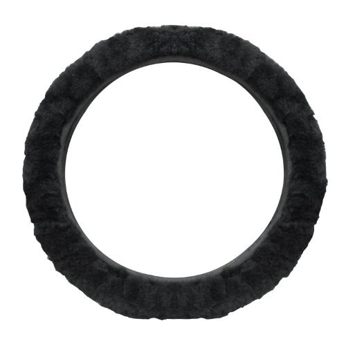 14. Cutequeen Trading Sheepskin Stretch-On Steering Wheel Cover Black