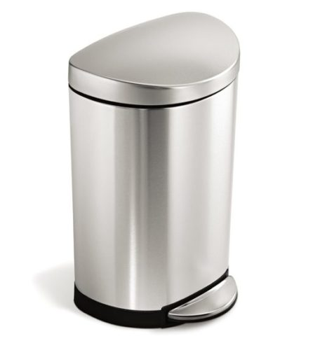 14. Gallon Stainless Steel Small Semi-Round Bathroom Step Trash Can, Brushed Stainless Steel