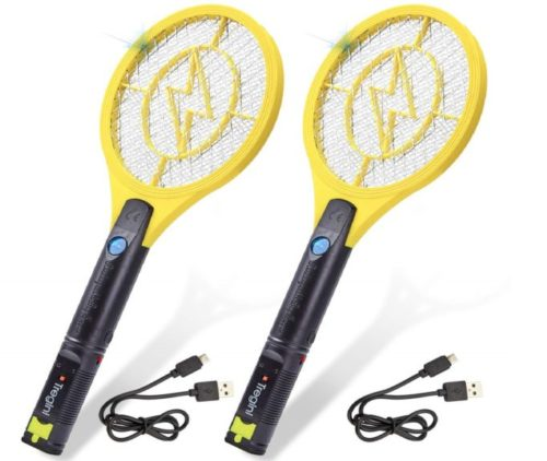 14.Tregini-Mini-Electric-Fly-Swatter-2-Pack-–-Rechargeable-Bug-Zapper-Tennis-Racket-with-Safe-to-Touch-Mesh-Net-and-Built-in-Flashlight-Kills-Insects-Gnats
