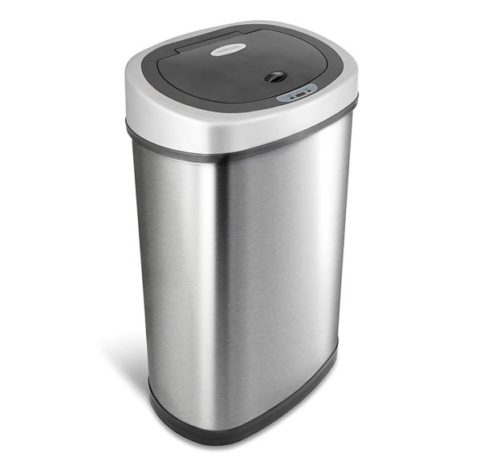 15. NINESTARS DZT-50-9 Automatic Touchless Infrared Motion Sensor Trash Can, 13 Gal 50L, Stainless Steel Base