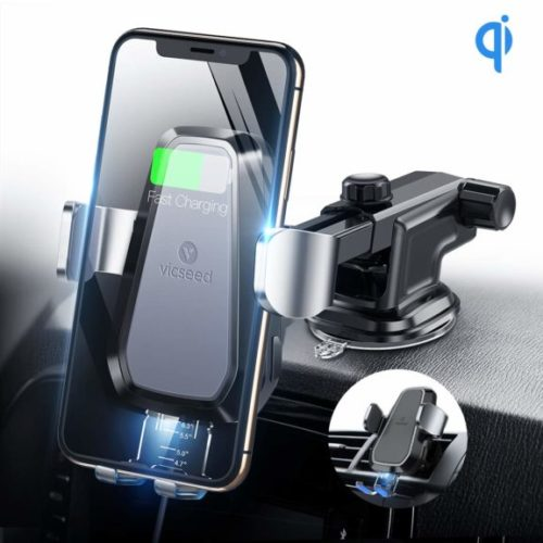 15. VICSEED Wireless Car Charger,10W Qi Certified Fast Charge, Wireless Charging Car Mount