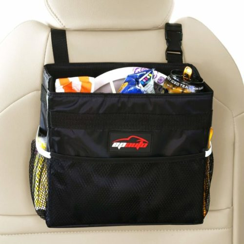 2. EPAuto Car Garbage Trash Can w,Storage Pockets