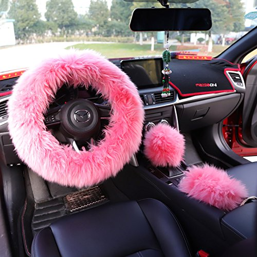 2. Yontree Winter Warm Faux Wool Handbrake Cover Gear Shift Cover Steering Wheel Cover