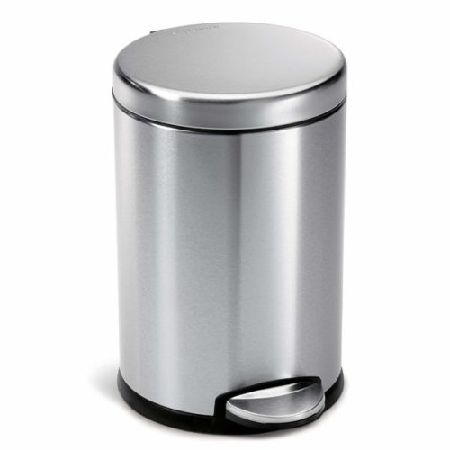 2. simplehuman Round Step Trash Can, Fingerprint-Proof Brushed Stainless Steel