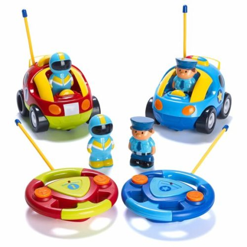 3. Prextex Pack of 2 Cartoon R,C Police Car and Race Car Radio Control Toys for Kids- Each with Different Frequencies So Both Can Race Together