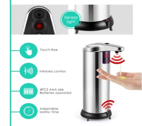3.Cakie-Soap-Dispenser-Touchless-Automatic-Soap-Dispenser-Infrared-Motion-Sensor-Stainless-Steel-Dish-Liquid-Hands-Free-Auto-Hand-Soap-Dispenser-Upgraded