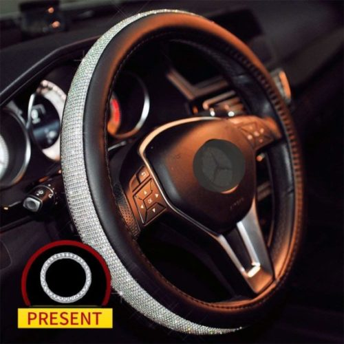 4. Sino Banyan Cystal Steering Wheel Cover,with PU Leather Bling Bling Rhinestones,Black & Silver