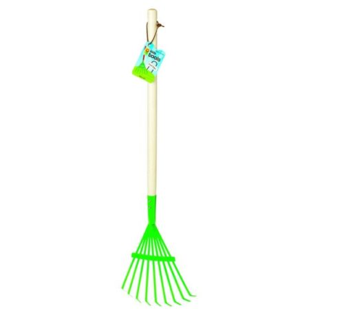 4. Toysmith 27-Inch Kid's Metal Leaf Rake with Hardwood Handle