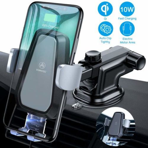 4. VANMASS Wireless Car Charger Mount, Automatic Clamping Qi 10W 7.5W Fast Charging 5W Car Mount, Windshield Dashboard Air Vent Phone Holder Compatible