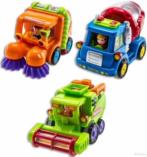 4. WolVol (Set of 3 Push and Go Friction Powered Car Toys for Boys - Street Sweeper Truck, Cement Mixer Truck, Harvester Toy Truck