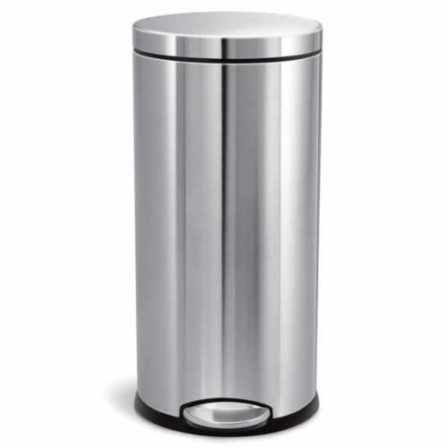 4. simplehuman 30L,8 Gallon Round Step Trash Can, Brushed Stainless Steel