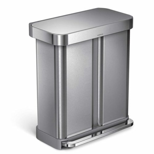5. Gallon Step Can Liner Pocket, Brushed Stainless Steel Dual Compartment Recycler Rectangular