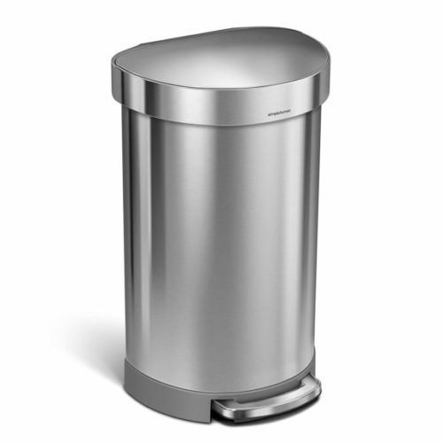 6. Gallon Stainless Steel Semi-Round Kitchen Step Trash Can with Liner Rim, Brushed Stainless Steel