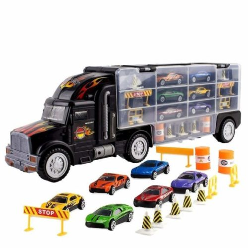 6. Toy Truck Transport Car Carrier Toy for Boys and Girls age 3 - 10 yrs old - Hauler Truck Includes 6 Toy Cars and Accessories
