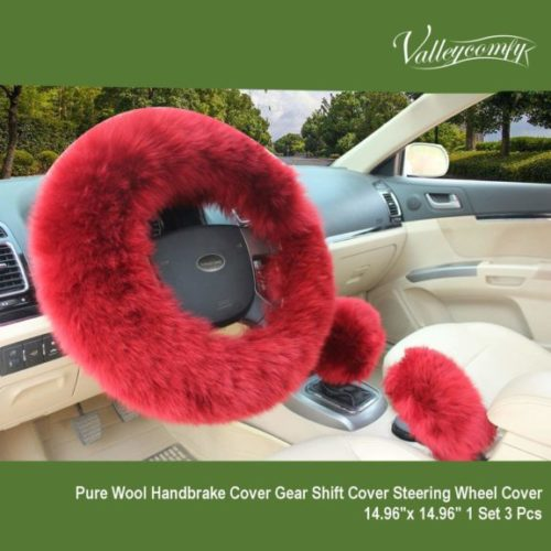 6. Valleycomfy Fashion Steering Wheel Covers , Australia Pure Wool 15 Inch 1 Set 3 Pcs, Wine Red