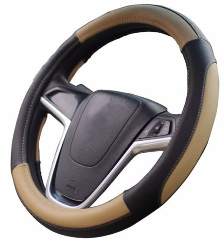 7. Mayco Bell Car Steering Wheel Cover 15 inch No Smell Comfort Durability Safety (Black Beige)